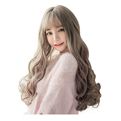 ZHML-wig Perruque-Big Ondulés Cheveux Bouclés Faits Saillants La Air Bangs Naturel Moelleux Personnalité Mode Grand-Mère Gris Modifié Visage Magnifique