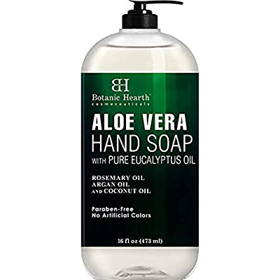 Botanic Hearth Aloe Vera Hand Soap with Eucalyptus Essential Oil - Liquid Hand Wash for Cleansing, Moisturizing, and Nourishing Hand & Body, 16 fl oz