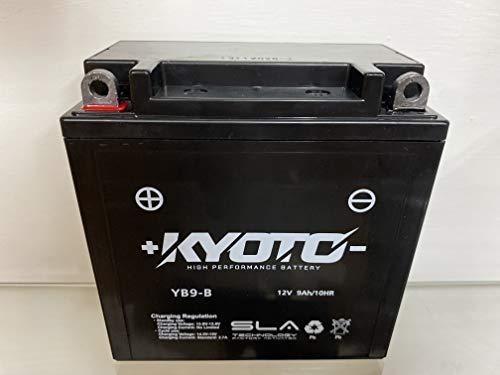Batería de la motocicleta Kyoto YB9-B SLA compatible con Gilera MX1, MXR EI.-Starter 125 - Listo para usar 12V 9Ah 135 x 75 x 139 mm