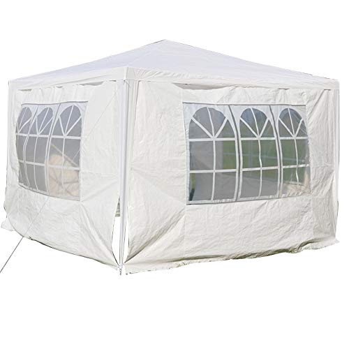 DICN 3x3m Gazebo with 4 Sides Walls Tent Waterproof Awning Canopy Rustproof Iron Frame PE Cover for Outdoor Garden Party Festival Wedding - White
