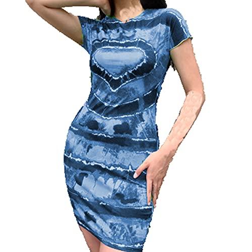 XYJD FrüHling Und Sommer Damen Casual Pullover Rundhalsausschnitt Love Print Tie-Dye Slim Kurzarm Kleid Damen