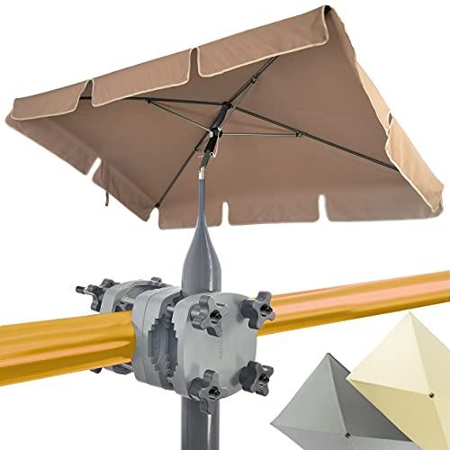 4smile Set – Sonnenschirm Balkon SunnyShade + Sonnenschirmhalter Balkongeländer SunnyGuy – 200x125cm, Sonnenschutz UV50+, rechteckig – Marktschirm, Taupe