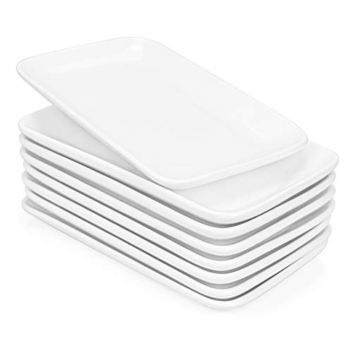 Foraineam Set of 8 Pieces 8 Inch Rectangular Porcelain Platters Dessert, Appetizer, Salad Plates White Serving Trays