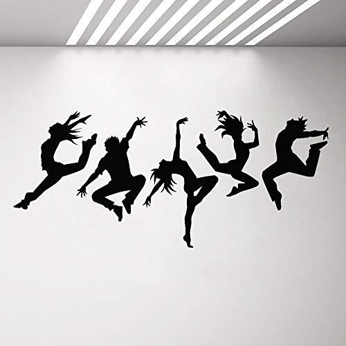mlpnko Tänzer Vinyl Wandtattoo Silhouette tanzen Menschen tanzen Aufkleber Wandbild Raumdekoration Schlafzimmer Wandaufkleber129X64cm