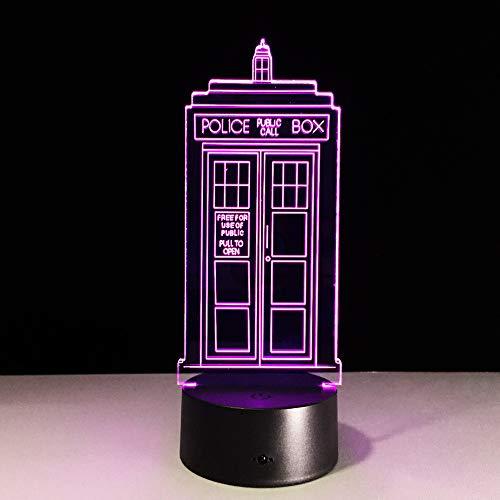 Police Box 3D nachtlampje acryl LED USB tafellamp lichtjes multicolored gloeilamp 7 kleuren veranderende lamp