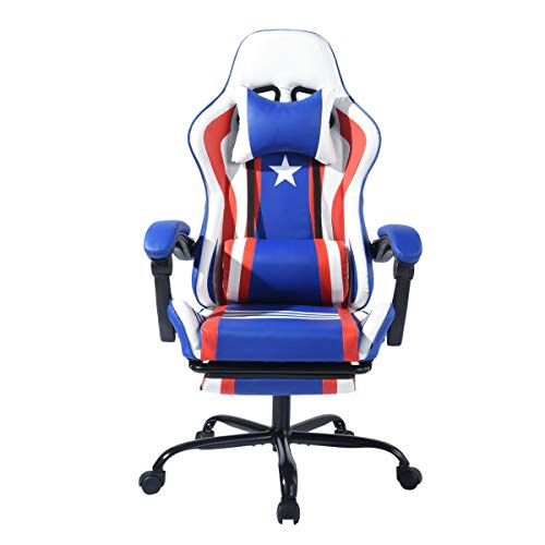Gaming Chair Racing Chair Ergonomic Recling Chair with Footrest, High-Back, Headrest, Blue