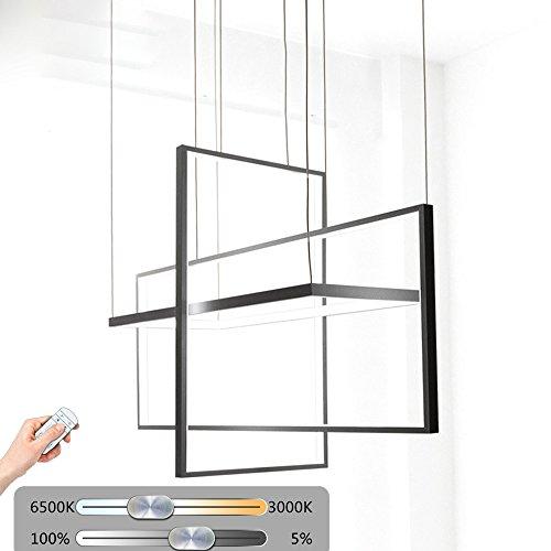 Créative moderne suspension LED 3 Design Rectangulaire Télécommande réglage en suspension à intensité variable Lampe design Cadre en métal Salle à manger Suspension réglable en hauteur Table Salon lustre