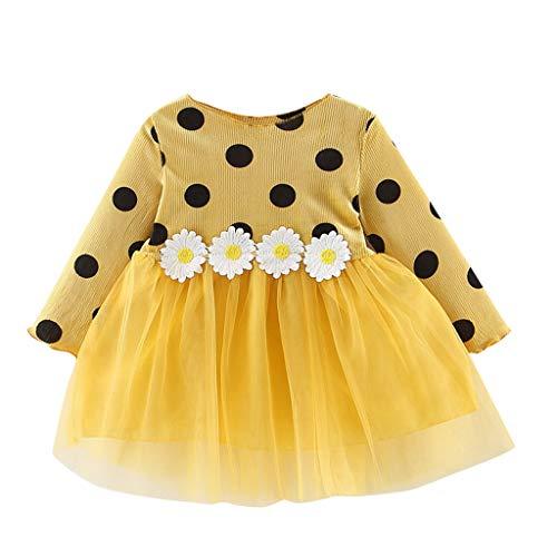 LEXUPE Herbst Infant Baby Kinder Mädchen Party Spitze Tutu Prinzessin Kleid Kleidung Outfits(Gelb,90)