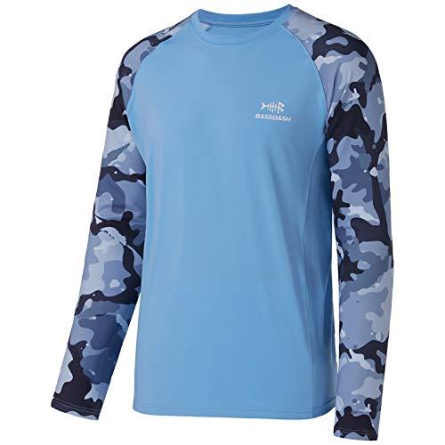 BASSDASH UPF 50 Maglietta da pesca per uomo Camo a maniche lunghe camicie ad asciugatura rapida, Carolina/Blu Camo, L