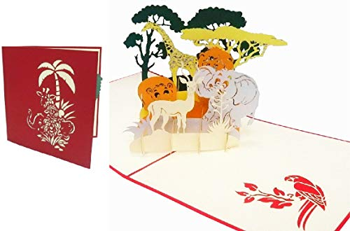 LIN POP UP 3D Grußkarte Sammelkarte Tierkarte Gutscheinkarten Safari Reise Zoo (Große Karte 15 x 15 cm) #221#