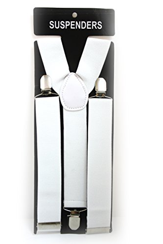 Blanc réglable adulte unisexe enfant élastique à bretelles Y