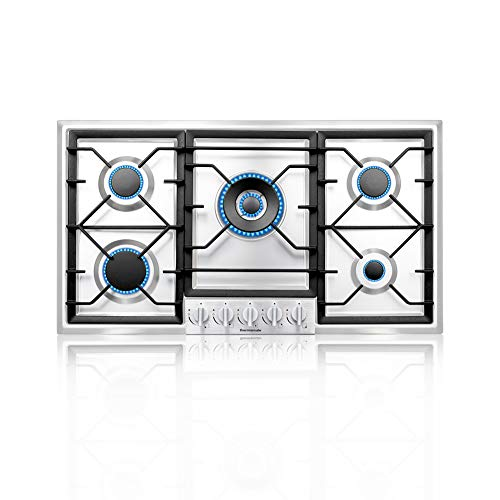 thermomate 36 Inch Gas Cooktop, Built In Gas Rangetop with High Efficiency Burners, NG/LPG Convertible Stainless Steel Gas Stove Top with Thermocouple Protection, 120V AC