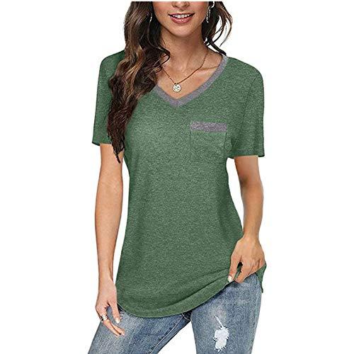 Camiseta Holgada Informal para Mujer con Bolsillo con Cuello en V de Primavera y Verano a Juego