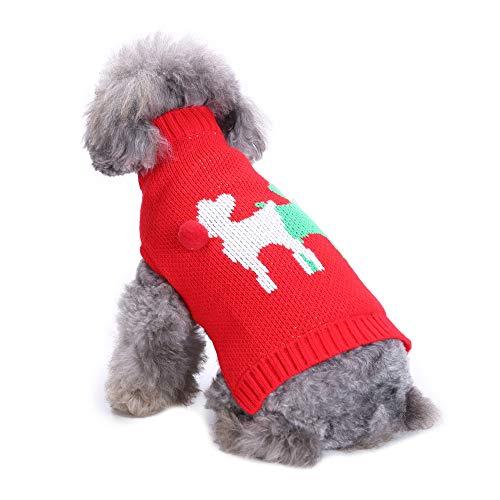 CHIYEEE Weihnachtspullover für Hunde und Katzen Weihnachten Hundepullover Warm Hundepulli Winter Strickpullover Sweater Mantel S