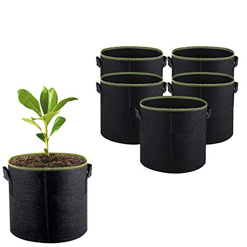 SUNTRADE Grow Bags 5-Pack 5 Gallon Aeration Fabric Pots Container with Handles (5 Gallon(22.7 Liter))