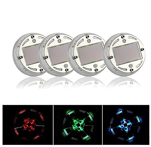 4 stuks solarlampen voor autobanden LED wielnaaf decoratieve lichten waterdicht geschikt voor bewegingsmelders van auto fiets motorfiets