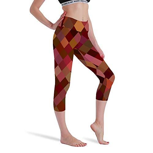 DKISEE Vrouwen Hoge Taille Zeven Punten Yoga Broek Rood Grid Mix Gedrukte Sportbroek Leggings Hardlopen Gym Sweatpants voor Vrouwen