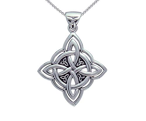 Jewelry Trends Celtic Trinity Knot Circle of Life Sterling Silver Pendant Necklace 18'