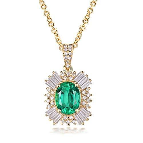 Bishilin Colgante Collar Oro 750, Rubí Ovalado de 0.6ct Collares Pendientes 1.47ct Esmeralda Elegante Collar para Mujeres Niñas Regalos para Cumpleaños Navidad Regalos para Cumpleaños Navidad Oro