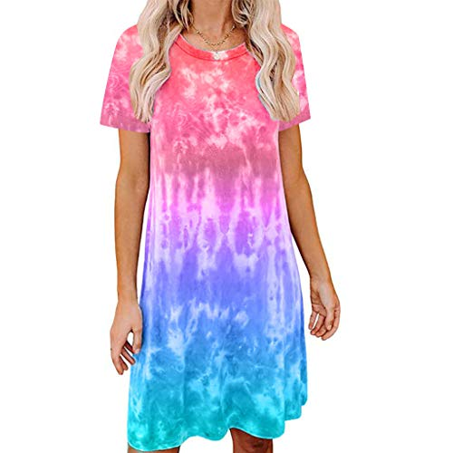 Find Discount Sanyyanlsy Women's Summer Short Sleeve Skirts Ladies Plus Size Loose Tie-dye Print Cas...
