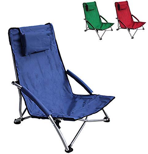 Low Sling Beach Chair Folding Dark Blue