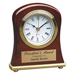 4 1/2 x 5 Rosewood Piano Finish Bell Shaped Desk Clock Custom Engraved/Personalized!!