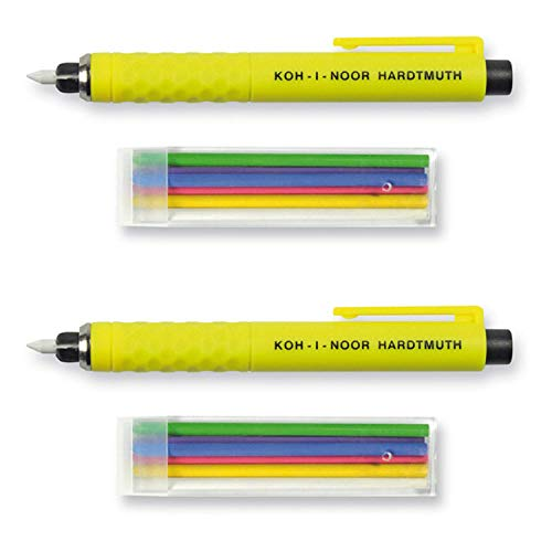 Koh-I-Noor S128 - Lápiz de plástico Amarillo con 6 Minas de Colores (Verde, Morado, Azul, Rojo, Amarillo, Blanco) - Juego de 2 con 2 bolígrafos y 6 Cables de Repuesto Cada uno
