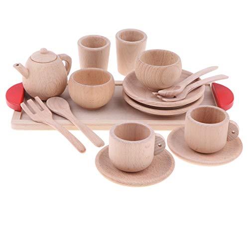 KESOTO 16-teilig Kinderküchen Rollenspiel, Küche Geschirr Tee-Set aus Holz Spielzeug für Kinder Spielküche Spiel Zubehör