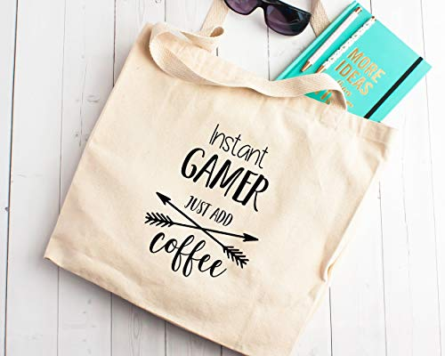 Gift Gamer gewoon toevoegen Koffie Canvas Tote Shopping Bag Gift voor Gaming Pro Video Games Speler Enthousiaste Console PC Games
