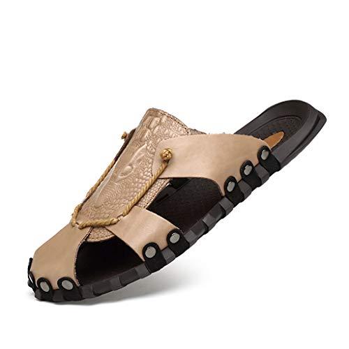 Dtuta Herren Schuhe Sommer Slipper GroßE Sandalen Leder Zehen Weichen Unteren Schicht Leder Strandschuhe Watschuhe Wasserdicht rutschfest Atmungsaktivem Komfort