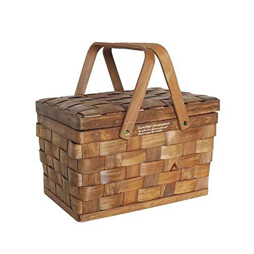Chytaii Picknickkorb,Holzkorb mit Deckel, Landhausstil Korb, für 2 Personen Picknickkoffer - 27 x 20 x 29 cm - Braun