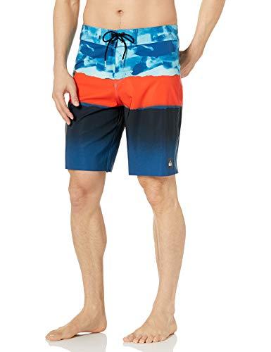 Quiksilver Men's Blocked Resin Camo 20 Boardshort Swim Trunk, Atomic Blue, 33
