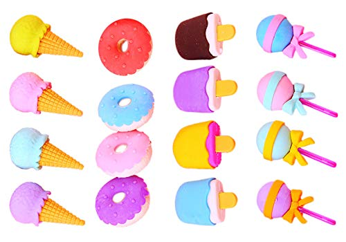 Keleily Gomas de Borrar Kawaii 4 Caja de Gomas de Borrar Comida Gomas de Borrar con Formas Mini Borradores Colores para...