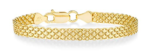 Miabella 18K Gold Over Sterling Silver Italian 6mm Solid Bismark Mesh Link Chain Bracelet for Women, 6.5, 7, 7.5, 8 Inch 925 Made in Italy (7.5 Inches (6.5'-6.75' wrist size))