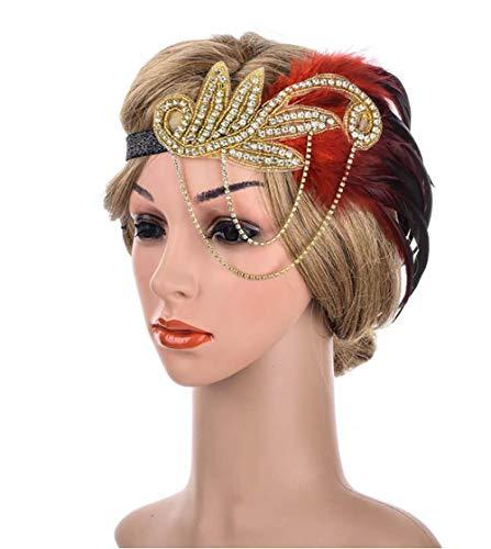 Gatsby voorhoofdband, bruiloft hoofdversiering 1920 jaren flapper hoofdband kristallen veer hoofdtooi roaring 20-delig jaren gatsby haaraccessoires voor vrouwen