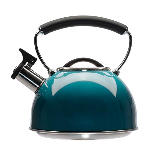 Primula Chelsea Whistling Stovetop Tea Kettle Food Grade Stainless Steel Hot Water, Fast to Boil, Cool Touch Handle, 2.3 Quart, Ombre Teal