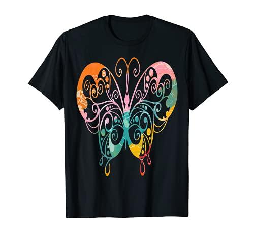 Colorido diseño floreciente de la mariposa Camiseta
