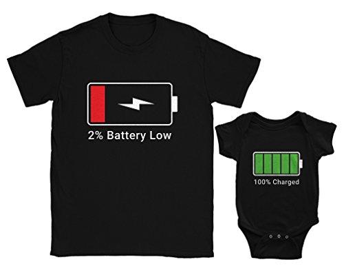 Green Turtle T-Shirts Papa Low Battery/Baby Full Cadeau Fête des Pères Noir Small/BB Noir 3-6 Mois