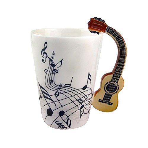 ufengke Creativo Guitarra De Grano De Madera Tazas Mug De Porcelana Tazas De Café Personalizadas, Notas Musicales Taza De Té De Cerámica, para Regalo, La Familia Y La Oficina