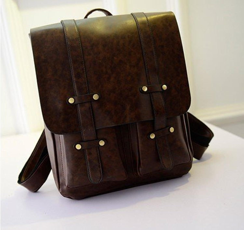 Meine Damen Schultertasche koreanische Edition college Wind pu Schultasche einfach Retro casual Bag, Dunkelbrown