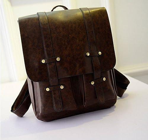 Meine Damen Schultertasche koreanische Edition college Wind pu Schultasche einfach Retro casual Bag, Dunkelbraun