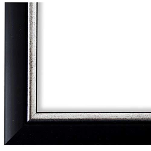 Bilderrahmen Schwarz Silber 30 x 40 cm - Modern, Klassisch - Alle Größen - handgefertigt - Galerie-Qualität - WRF - Perugia 4,0