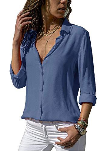 ASKSA Damska bluzka szyfonowa, elegancka, długi rękaw, jednokolorowa, dekolt w serek, luźna bluzka koszulowa, top, niebieski, M