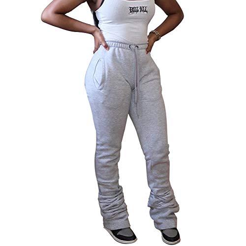 SUKIRIYA Womens Stacked Pants Leggings Elastic Waist Ruched Jogger Sweatpants with Pockets (Grey,XXL)