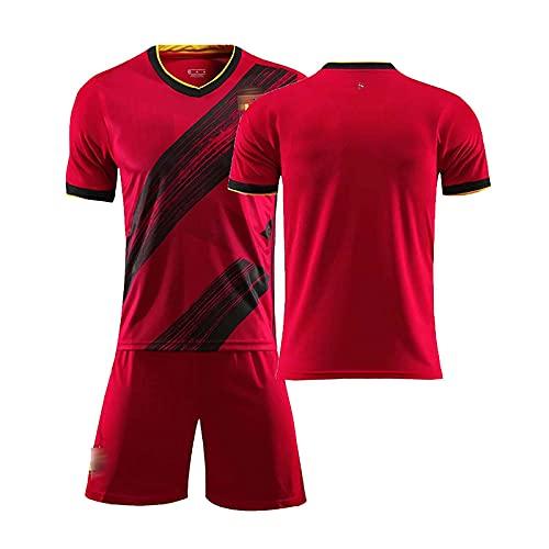 Mijiang Camiseta De Fútbol, 2020 Bélgica 10 Hazard 7 De Bruyne 9 Lukaku Jersey, Camiseta De Uniforme De Fútbol para Niños Adultos Personalizable Shorts Sportwear,Rojo,20