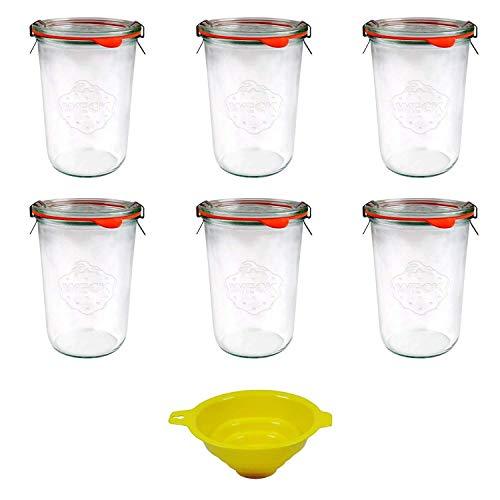 Viva Haushaltswaren - 6 x großes Weckglas/Einmachglas 750 ml mit Deckel in Sturzform, leeres Rundrandglas zum Einkochen - als Marmeladenglas, Dessertglas (inkl. Klammern, Ringen & Trichter)