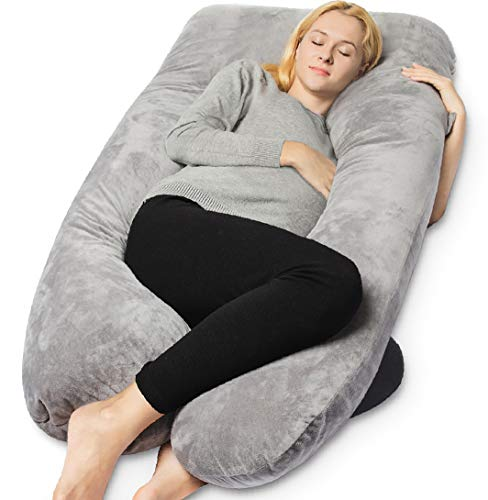 QUEEN ROSE Pregnancy Pillow with Velvet Cover-Maternity Body Pillow U Shaped Pillow for Back,Gray