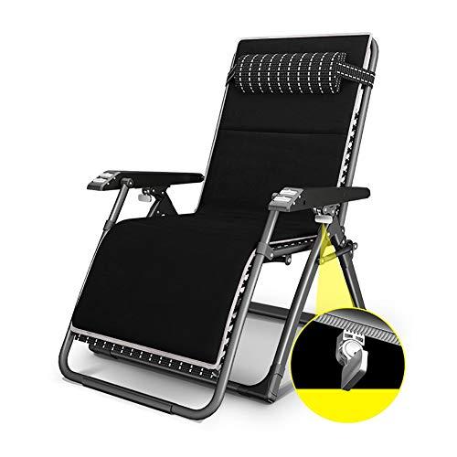 Fauteuils de salon inclinables Fauteuil Zero Gravity surdimensionné noir, transat au soleil sur la plage avec coussin, fauteuil lounge inclinable de patio robuste, soutien de 330 lb