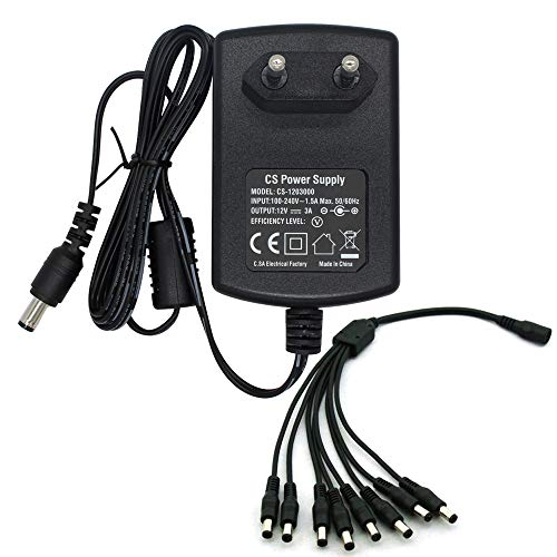 Adattatore di alimentazione da CA a CC 12V 3A con 8 cavi di alimentazione Split per telecamera CCTV Security DVR NVR Led Strip