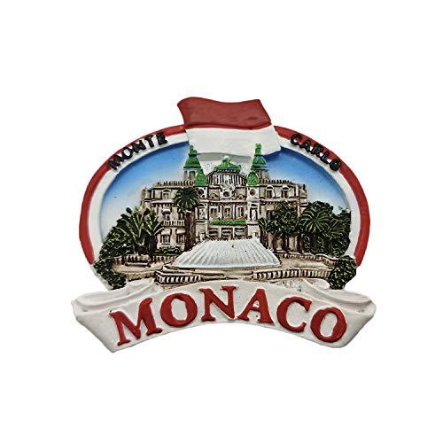 Wedare Magnet Monaco 3D Kühlschrankmagnet Souvenir Harz Sammlung, Monaco Kühlschrankmagnet Geschenk Magnetische Aufkleber Home Küche Dekoration